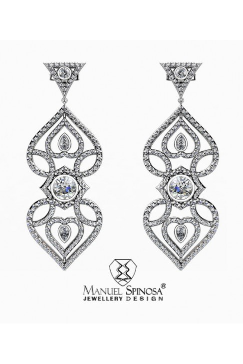 white gold earrings in the shape of the heart with diamonds