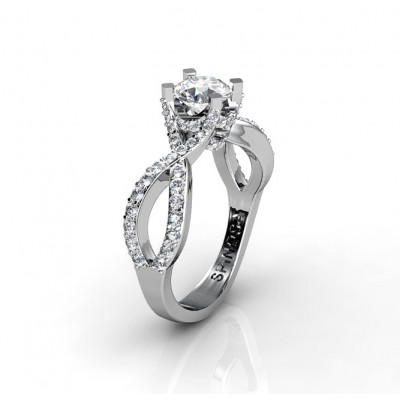 braided-shaped engagement ring with diamonds