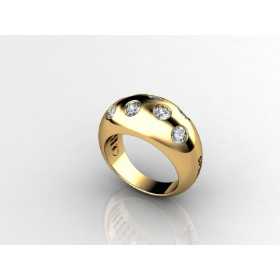 18K classic 7-brilliant yellow gold ring