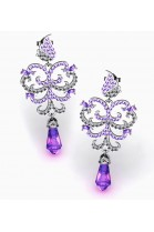 butterfly-shaped earrings with amethyst, gold, and diamonds