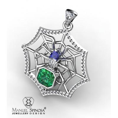 colgante en forma de araña con esmeralda, zafiro y brillantes