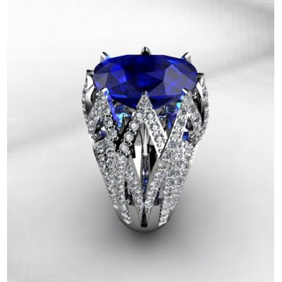 Captivating Ring With Blue Swiss Quartz and 164 Diamonds