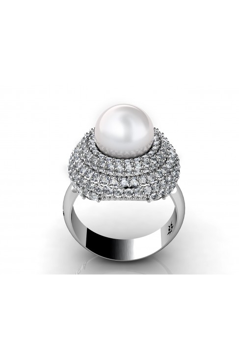 Chic Pearl Ring with 198 Brilliants