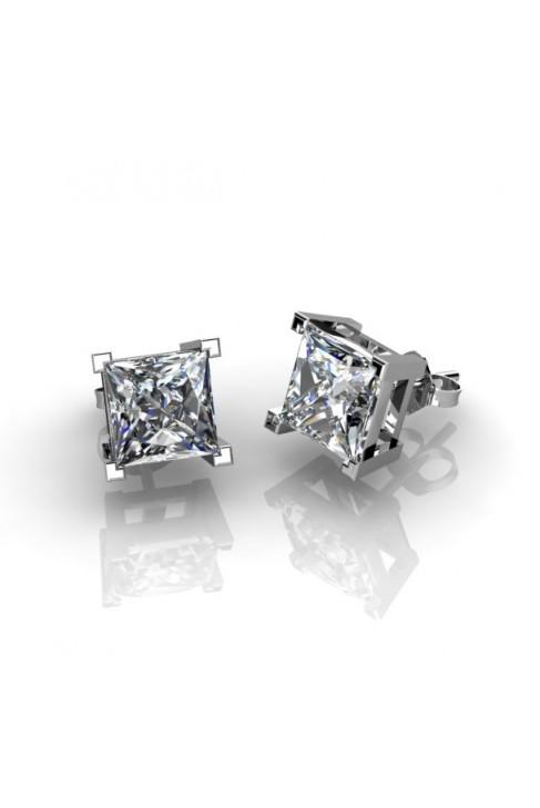 pendientes de presion con diamantes en talla princesa