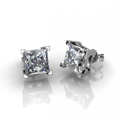 Серьги с бриллиантами огранки «принцесса»
