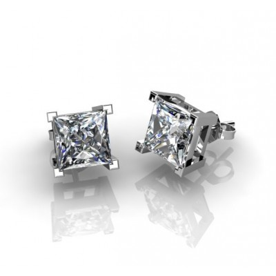 classical square-shaped diamond earrings