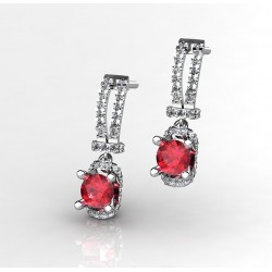 classy earrings with a lovely red ruby and brilliants