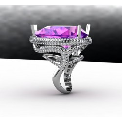 Cocktail Style Ring With Amethyst and Diamonds