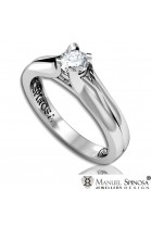 18 karat white gold engagement ring with diamond