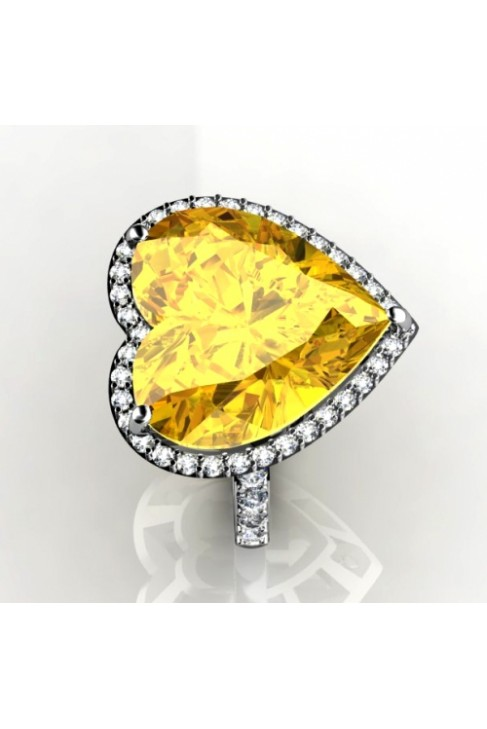 cute Lemon quartz heart-shaped ring with diamonds