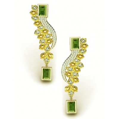 dazzling gold earrings with topaz, olivines and diamonds