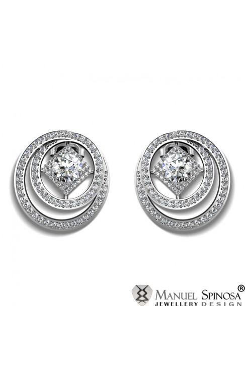 Серьги с бриллиантами из белого золота 18 карат