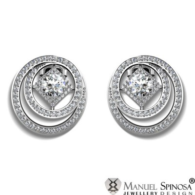 Designer Earrings with 2 Diamonds and 184 Brilliants