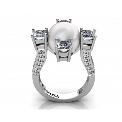designer pearl ring with 4 diamonds and 52 brilliants