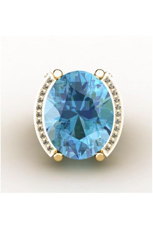 anillo con un topacio azul en talla oval, diamantes en talla princesa y brillantes