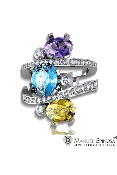 Кольцо из белого золота с аметистом, топазом, цитрином и бриллиантами