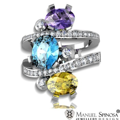diamond ring with 3 precious gemstones