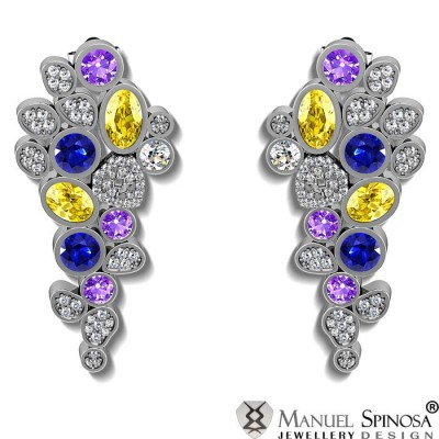 earrings with amethyst, blue and yellow topaz and 120 Brilliants