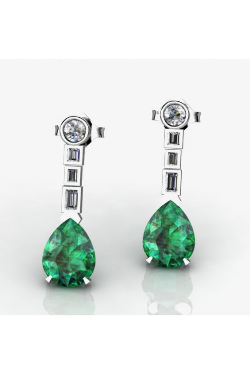 Earrings With Pear-Shaped Green Emeralds and Diamonds