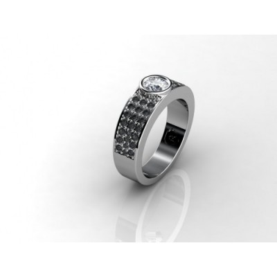 18K Black Diamond Engagement Ring