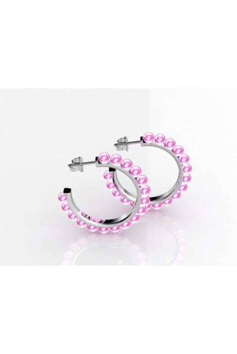 Серьги-кольца с розовым кварцем