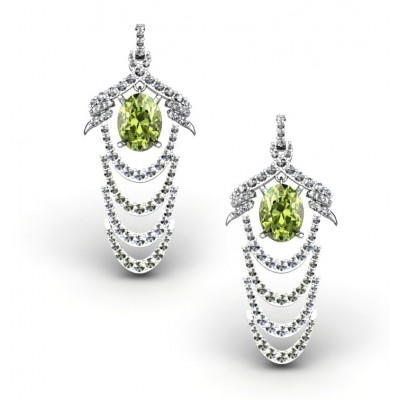 elegant long earrings with olivine and diamonds