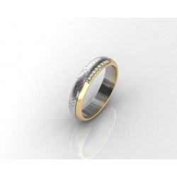 Elegant Modern Yellow-White Gold Wedding Ring