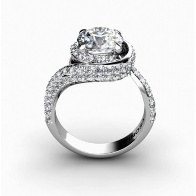 elegant spiral shaped engagement ring with 88 brilliants