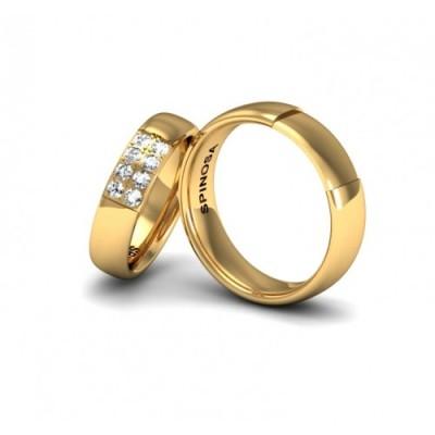 alianzas de boda en oro 18k y brillantes
