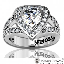 solitaire engagement ring in 18k white gold