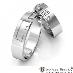 alianzas de boda con oro blanco y diamantes