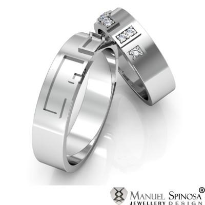 Обручальные кольца из белого золота 18 карат с бриллиантами