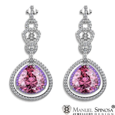 exclusive earrings with rose quartz, amethysts and 158 Brilliants
