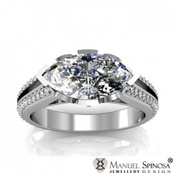 Exquisite Ring with Marquise Cut Diamond and 58 Brilliants