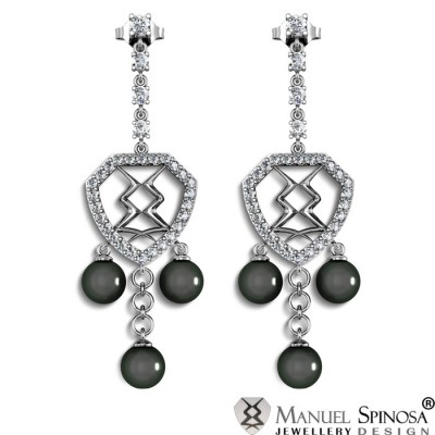 Exquisite White Gold Earrings with 6 Pearls and 32 Brilliants