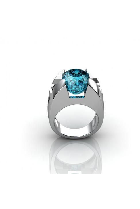 anillos de oro blanco con topazio azul
