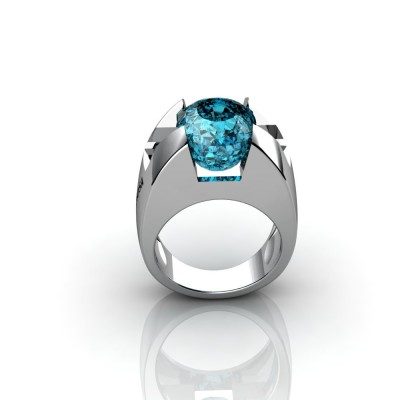 18K blue topaz white gold ring