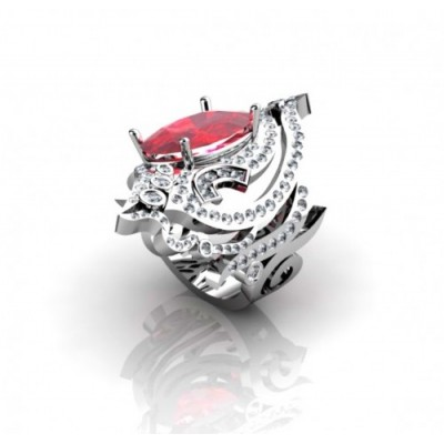 fashionable gemstone ring with ruby and diamonds