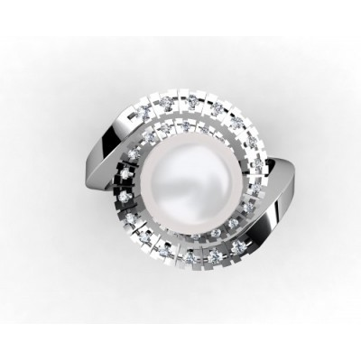 Fine Pearl Ring with 30 Brilliants
