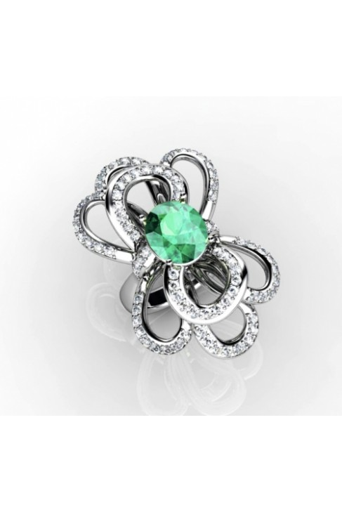 flower inspired green emerald ring with diamonds