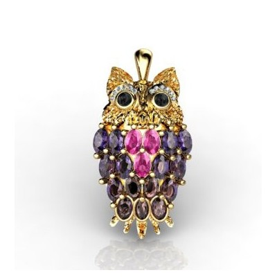 fortune owl-shaped pendant with diamonds and gems