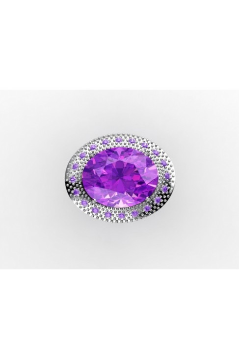 Glamerous Silver Ring with beautiful Amethyst