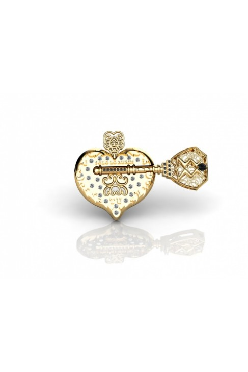 Gold Heart Lock And Key Pendant