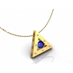 Gold pendant with blue sapphire and 6 diamonds