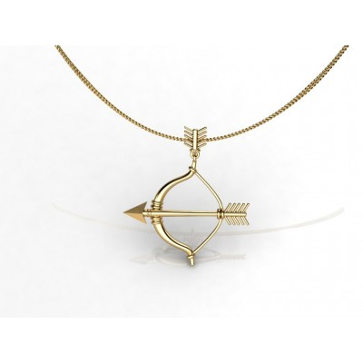 18k Bow And Arrow Gold Pendant