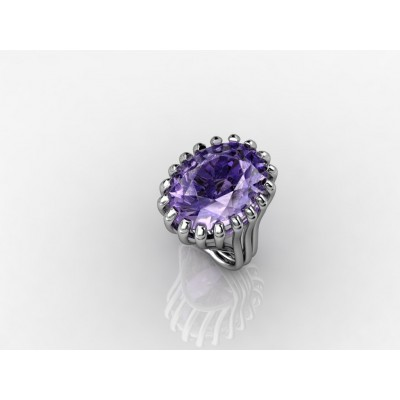 gold ring with natural purple amethyst
