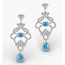 Gorgeous Interlaced Earrings With Blue Topaz and 304 Diamonds