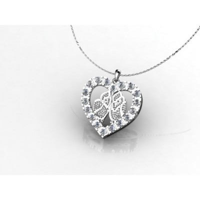 Heart pendant with 18 diamonds