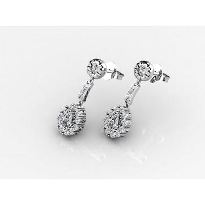 18K Chic Diamond Dangling Earrings