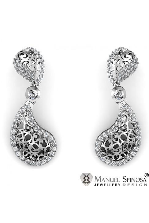 Heart Shaped Earrings with 106 Brilliants